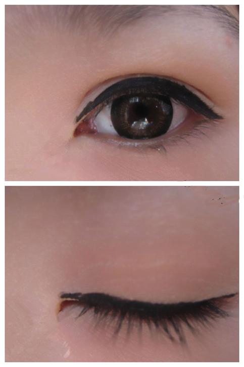 画下眼线可以在眼尾部分向眼角方向轻轻描绘,要注意控制力度,画出较细