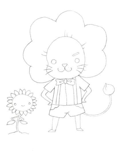 【绘画步骤】 1,将小狮子的头部毛发简化成太阳花的