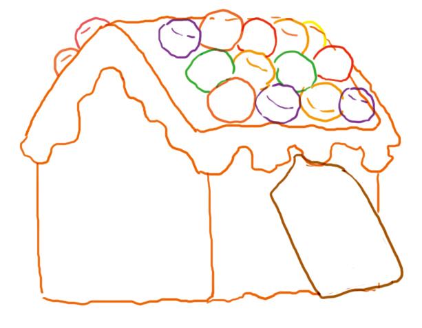 4.画出侧面的糖果.外轮廓用色根据糖果的本来的颜色来选择.