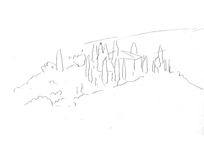 山脉公路树木手绘