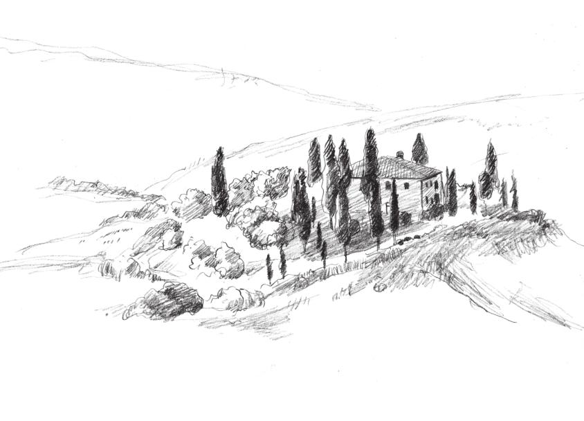 1,用简单的线条勾勒出树林,房屋和山脉的基本轮廓.