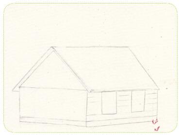 作画步骤 1.先画房子,掌握好结构的练习.